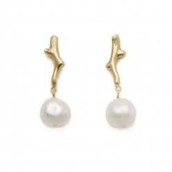Coral Pearl Drop Earrings