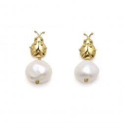 Ladybird Pearl Short Earrings